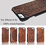 DOTOP® Unique Thin Genuine Handmade Natural Wood Bamboo Print PC Hard Back with Carvings Nature Creative Ultra Slim Wooden Protective Cover Case for iPhone 6 / iPhone 6s, 4.7 inch (Pharaoh)