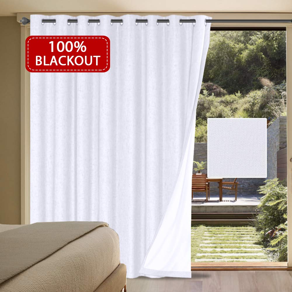 "H.VERSAILTEX 100% Blackout Patio Door Linen Curtains for Sliding Door- Extra Long and Wide Blinds Thermal Insulated Waterproof Textured Linen Drapes for Glass Door (White, 100"" x 84"")"