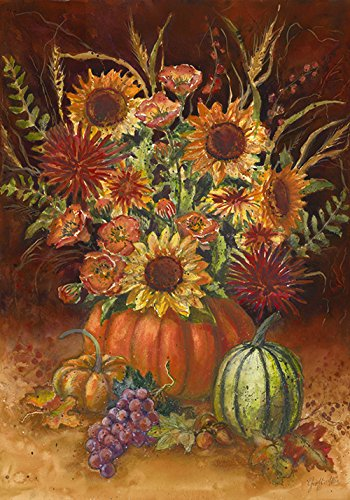 - Toland Home Garden Fall Burst 28 x 40 Inch Decorative Autumn Sunflower Pumpkin Bouquet House Flag