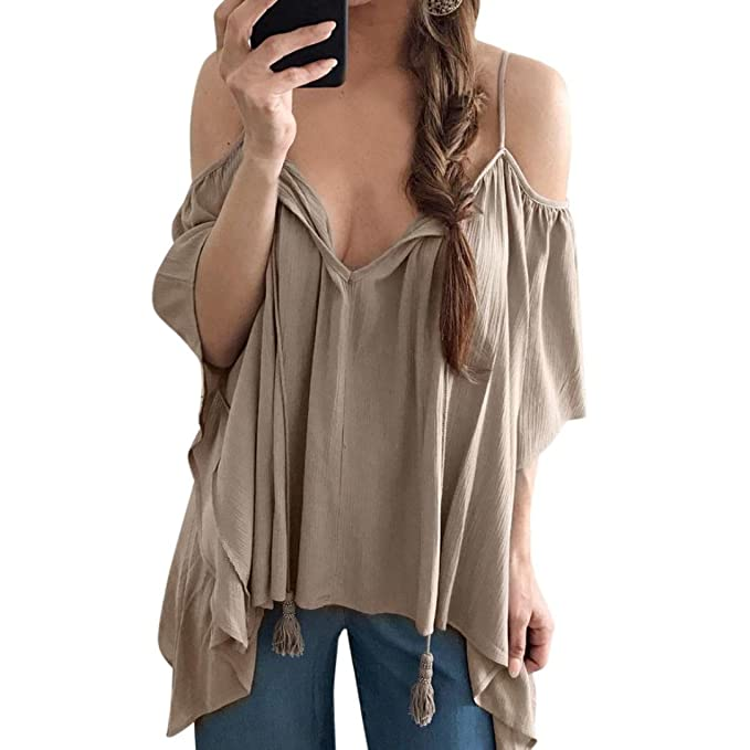 HARRYSTORE 2017 Moda mujer de verano suelta camiseta de manga larga Sólido de blusa casual de