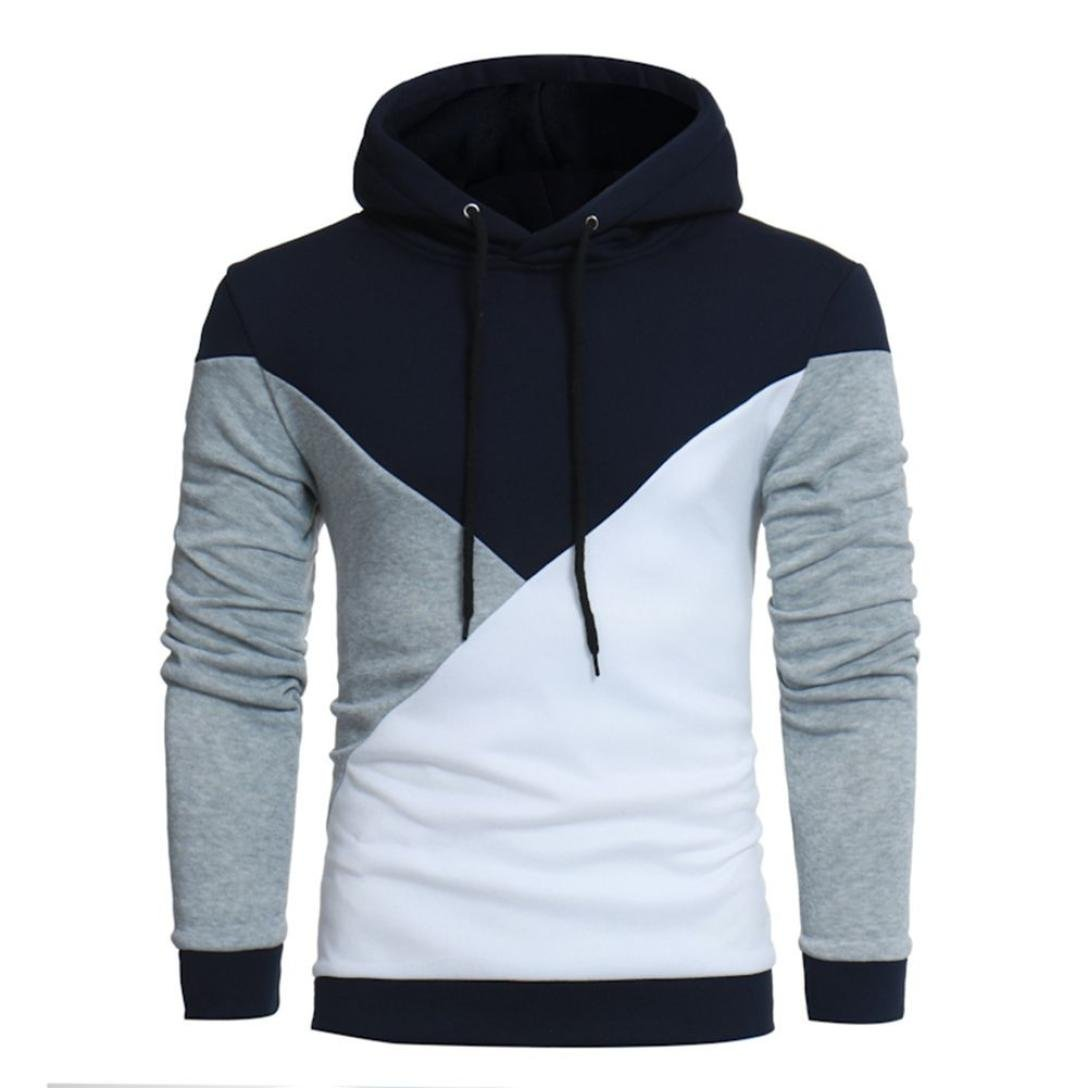 Sinzelimin Men's Colorblock Long Sleeve Patchwork Hoodie Hooded Sweatshirt Lightweight Tops Jacket Coat Outwear (Gray, M)