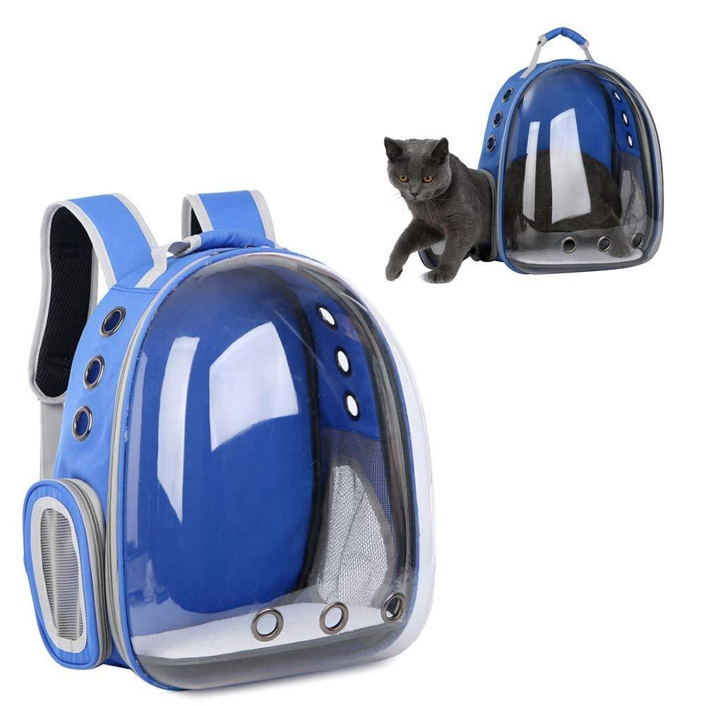 フル透明スペースカプセルキャットバッグポータブルペットバックパックドッグバッグ四季通気性エリアアウト旅行ペットバッグ多色オプション (色 : 青) 青