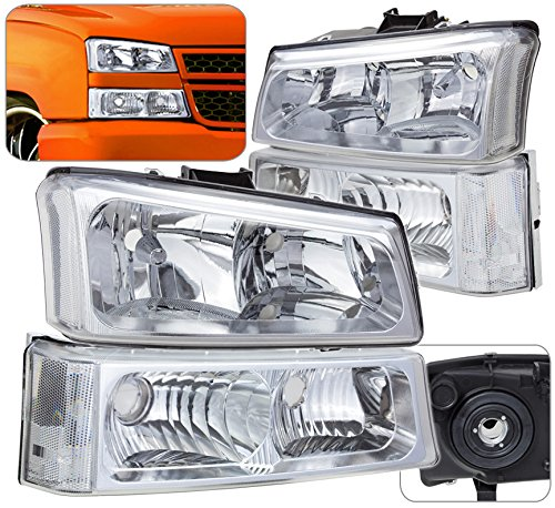 Chrome Head Lights Bumper Signal Turn Park Lamps Lens Pair Assembly Unit For Chevy Avalanche Silverado
