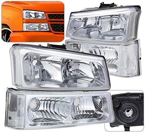 Chrome Head Lights Bumper Signal Turn Park Lamps Lens Pair Assembly Unit For Chevy Avalanche (Chevy Park Lens)
