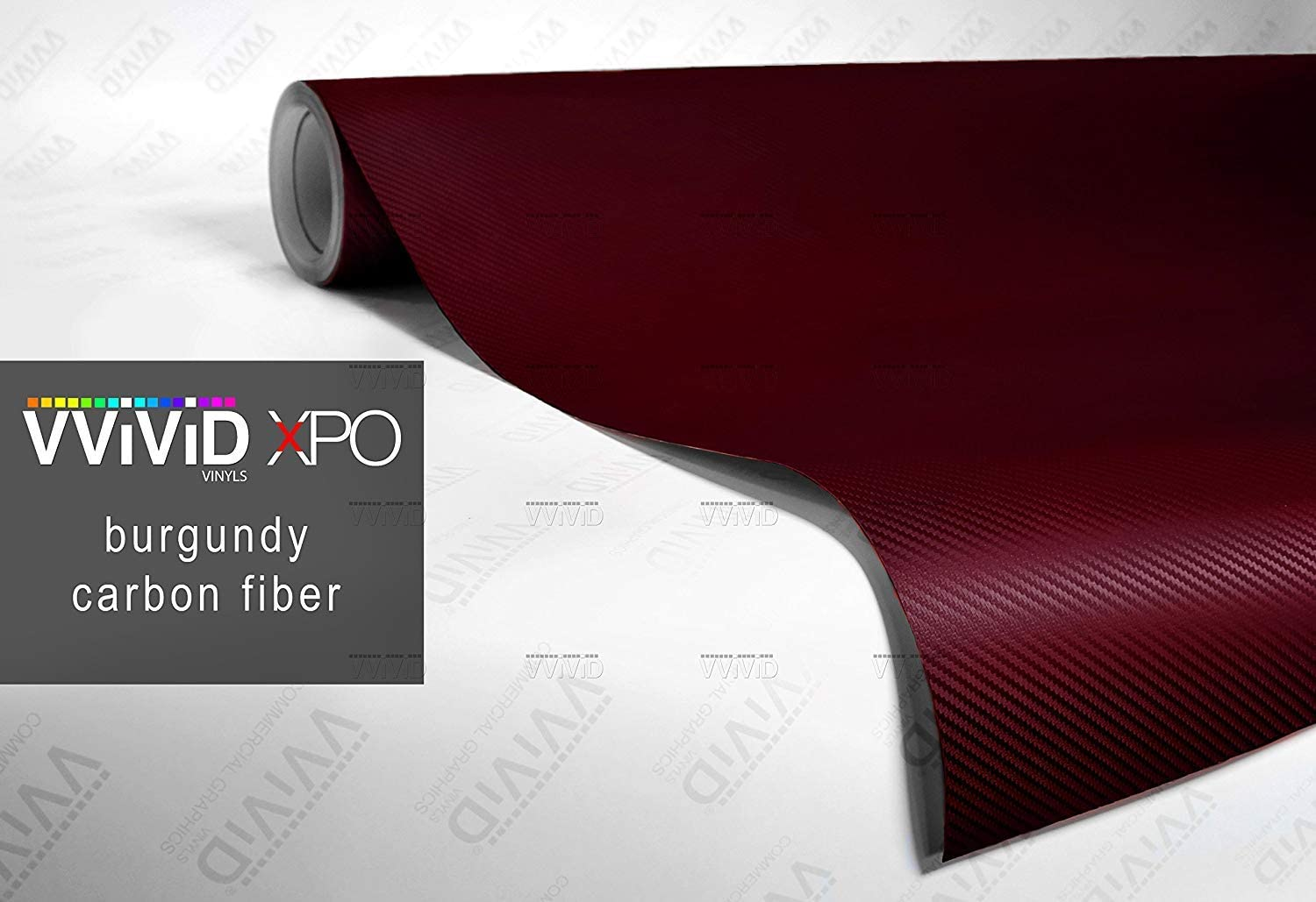 Red 3D Carbon Fiber Vinyl Wrap Roll with Air Release Technology 3ft x 5ft