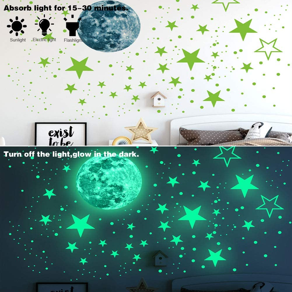 Abnaok Glow in The Dark Stickers 433pcs Luminous Moon and Dots Stars Nursery Wall Stickers DIY Wall Decal Murals Wall Decorations for Bedrooms