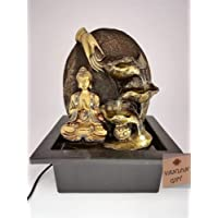 "VANLON Buddha Fountain : Indoor Water Feature, Prayer with 3 Water cups, One Warm White LED light/8.2""x 6.7""x9.8""/3 Pin UK Plug"