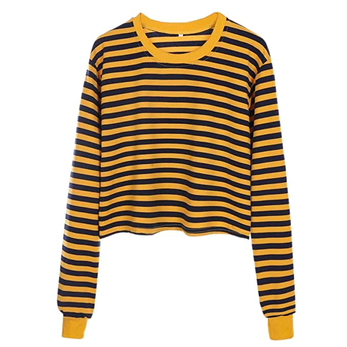 67eefe74b22ab HHei_K Womens Cute Striped Tops Color Block Pullover Loose Long Sleeve Crew  Neck Cropped Tops Blouse