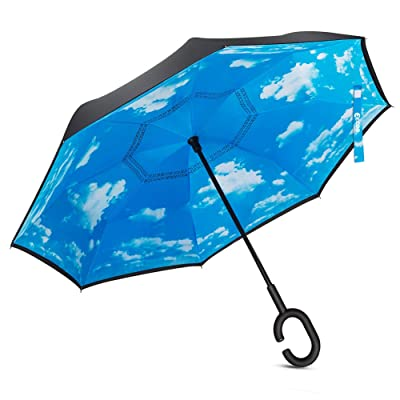 Inverted Double Layer Umbrella Windproof Waterproof UV Protection Self-Standing Reverse Inside Out Folding Rain Umbrellas with C-Shaped Hands Free Handle for Men&Women Travel&Car Use