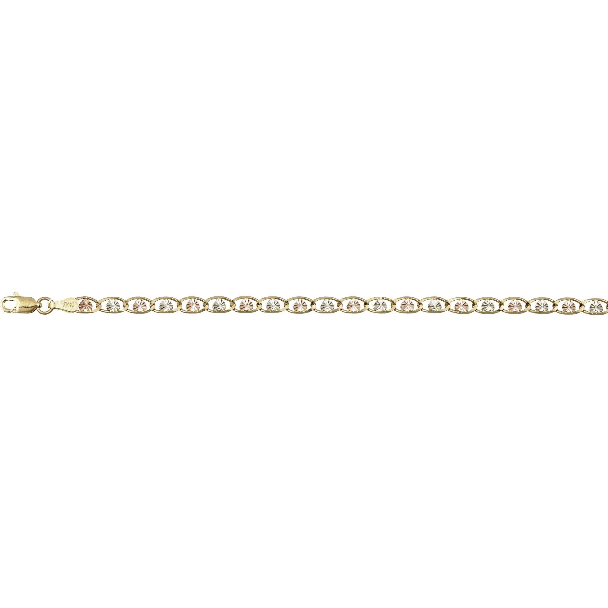 14K Gold Tri-Color 3.50mm 24'' Heart-Love Valentino 060 Chain