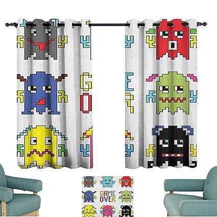 Amazon com: 90s,Grommet Window Panels Pixel Robot Emoticons