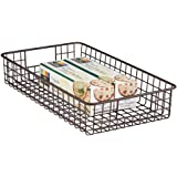 mDesign Household Metal Wire Cabinet Organizer Storage Organizer Bins Baskets trays - for Kitchen Pantry Pantry Fridge, Close