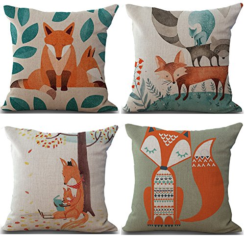 Famulei Cute Cartoon Animal Print Throw Pillow Cover Decorative Home Decor Cotton Linen Window Seat Square Cushion Cover (For Living Room, Sofa, Chair, Etc) 18x18 inch Art Deco Living Room Chair