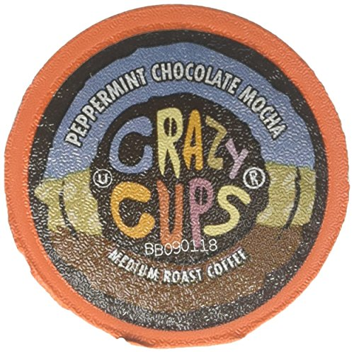 (Crazy Cups Coffee, Peppermint, Chocolate Mocha, Single Serve cups for the K Cup Keurig, 22Count)