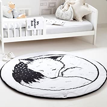 Amazon Com Hiltow Round Rugs Baby Rug Nursery Rugs Cute Fox Design
