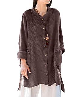 f845fdfb25 Romacci Women Button Down Long Blouse Casual Cotton Linen Plus Size ...