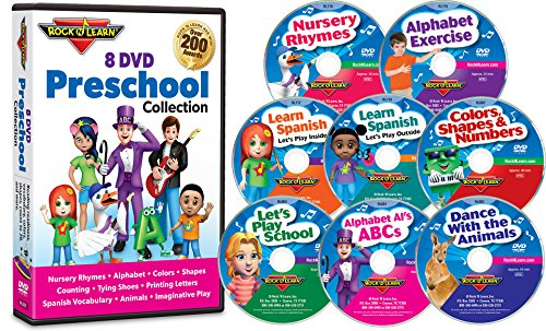 Interactive Review Question Cd - 8 DVD Preschool Collection by Rock 'N Learn (Alphabet, Counting to 20, Colors, Learn Spanish, Shapes, Nursery Rhymes, Kindergarten Skills and More)