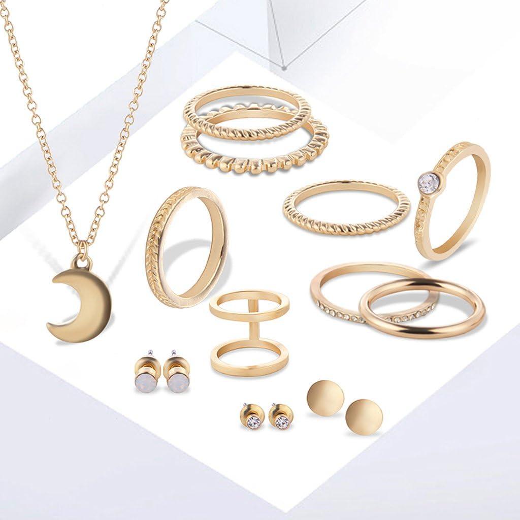 JAGENIE 12PCS donne matrimonio collana anello orecchini a perno Jewelry Set Modish ciondoli