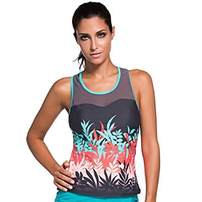 Aleumdr Women's Print Mesh Splice Tankini Top Swimwear Swimsuit Raceback