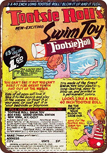 1968 Tootsie Roll Swim Toy Vintage Look Reproduction Metal Tin Sign 8X12 Inches