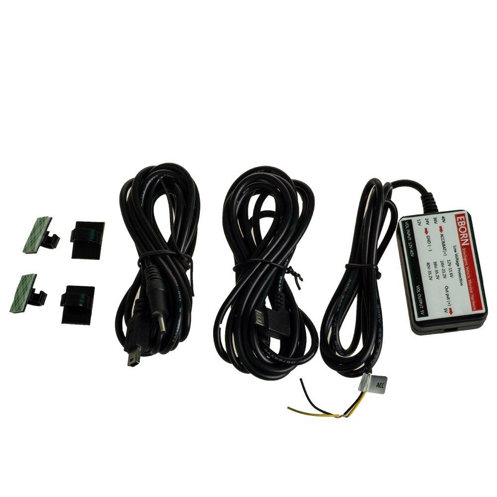 EBORN Micro/Mini USB, Fil dur automobile,Fil d'alimentation électrique intelligent sur véhicule, 12V/24V/40V conversion à 5V, Protection de coupure d'électricité en basse pression 12V/24V/40V conversion à 5V