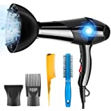 Hair Dryer Professional Ionic 3000W PluieSoleil with 2 Speed and 3 Heat Setting, Hairdryer with Diffuser, Nozzle and Combs 5 Attachments for Curly and Straight Hair