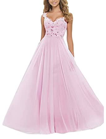 SeasonMall Womens Prom Dresses A Line V Neck Chiffon & Tulle Sweep Train Size 0 US