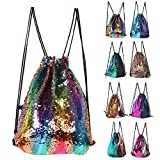 Mermaid Sequin Drawstring Backpack Glittering Outdoor Shoulder Bag, Winmany Magic Reversible Glitter Drawstring Backpack , Fashion Bling Shining Bag, Sports Backpack Bag (colorful) Review