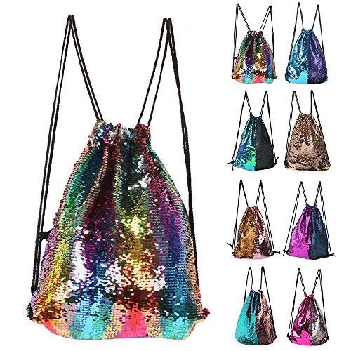 Mermaid Sequin Drawstring Backpack Glittering Outdoor Shoulder Bag, Winmany Magic Reversible Glitter Drawstring Backpack , Fashion Bling Shining Bag, Sports Backpack Bag (Reversible Drawstring Bag)