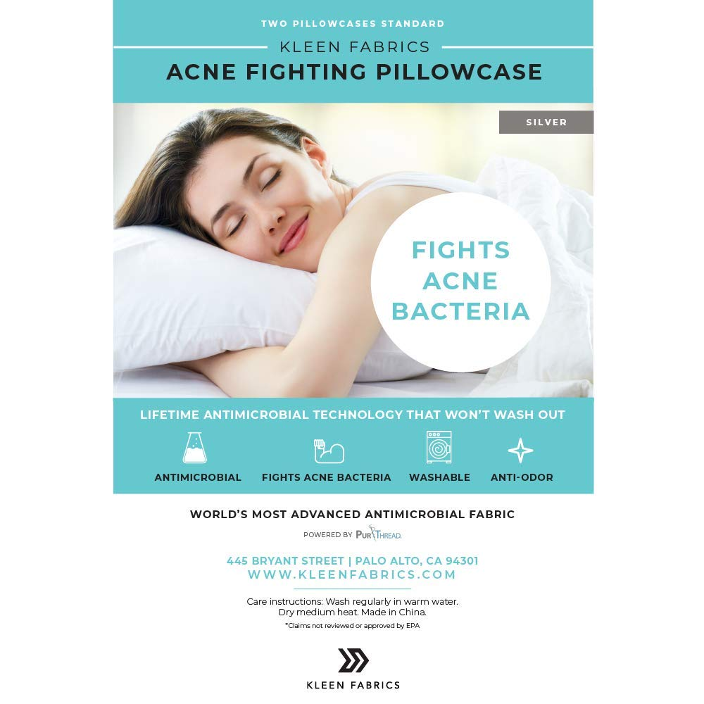 Kleen Fabrics Acne Fighting Antimicrobial Pillowcase with PurThread Silver Technology White 2 Standard Pillowcases