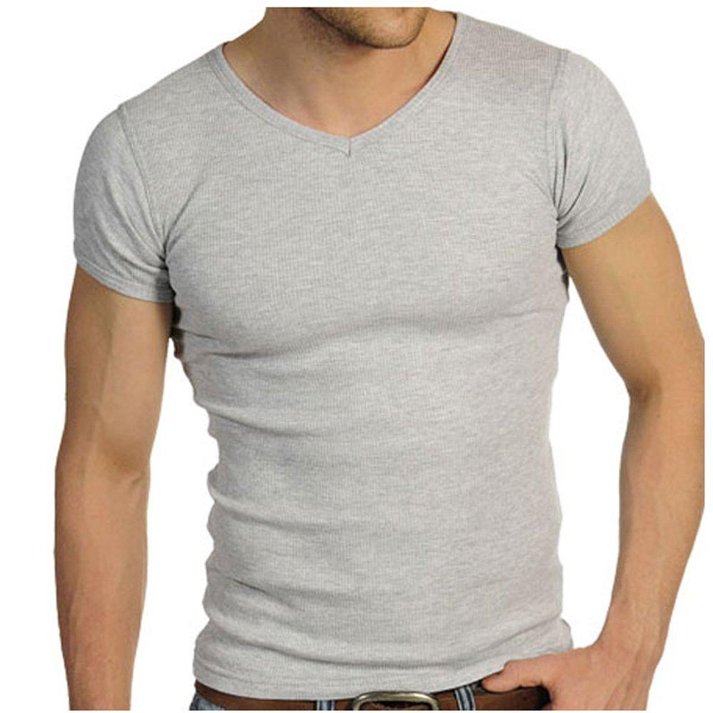 19c6c351aad Raiken Ribbed V Neck T-Shirt  Amazon.co.uk  Clothing