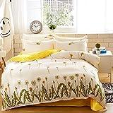KFZ Bed Set 3pcs Beddingset Duvet Cover Set No Comforter Flat Sheet Pillow Case MJ Twin Sheets Set Fresh Flowers Permanent Love Design for Kids Adult. (Permanent Love,Yellow, Twin,59''x78'', 3pcs)