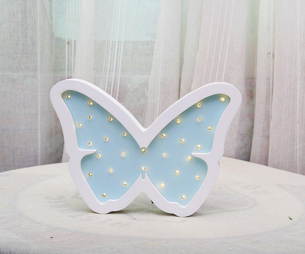 Butterfly Night Light Wooden LED Light Kids Decoration Butterfly Nursery Wooden Night Light Gift for Kids Room Decor