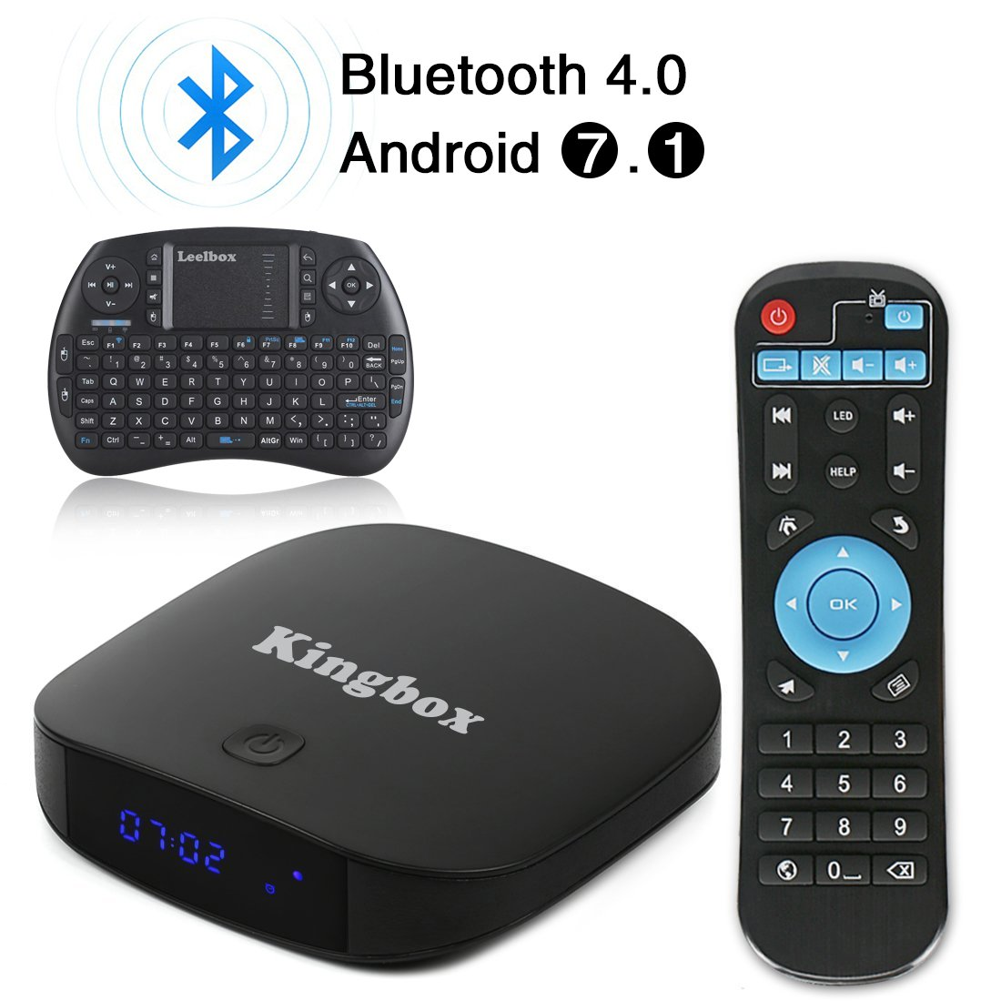 2018 Kingbox Android 7.1 TV Box with Free Wireless Keyboard, K1 Plus Android Box Support 4K (60Hz) Full HDMI / H.265 / Bluetooth 4.0 / 2.4GHz WiFi Android Smart TV Box (2G RAM / 8G ROM) by kingbox