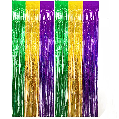 GIFTEXPRESS, Pack of 2 Mardi Gras Foil Fringe Curtains for Mardi Gras Party Photo Backdrop/ Party Backdrop/ Mardi Gras Decoration]()