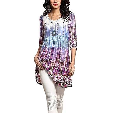 Miavogo Damen Lang T-Shirt Bluse Oberteile A Linie mit Blumen Casual Elegant:  Amazon.de: Bekleidung