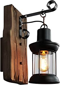 Longwind Wooden Metal Wall Light Fixture, Industrial Vintage Decorate Wall Sconces