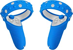 Fromsky Touch Controller Grip Cover for Oculus Quest/Oculus Rift S, Silicone Skin Protective Cover with Joystick Caps (Blue)