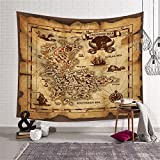 Ancient Pirate Treasure Map Decor Tapestry Wall Hanging Astrology Hippie Ethnic Decorative Art Window Curtain Table Cover Bedspread Beach Towel HYC44 (6#, 79' x 59' (200 x 150 cm))