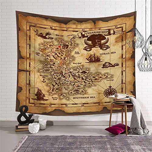 QCWN Treasure Map Tapestry Wall Hanging,Island Map Super Detailed Treasure Map Pirates Gold Secret Sea History Theme, Wall Hanig for Bedroom Living Room Dorm Decor Beige and Brown 59x51Inc
