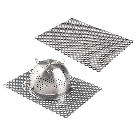 mDesign Juego de 2 Protector fregadero – Práctica rejilla de plástico para evitar arañazos en fregaderos