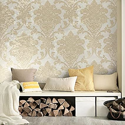 76 Sqft Roll Portofino Wallcoverings Embossed Vinyl Wallpaper Ivory Cream Yellow Gold Metallic Rusted