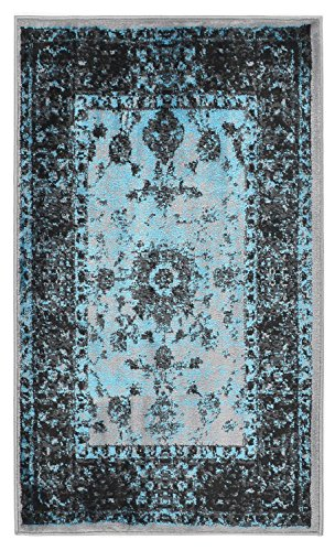 Studio Collection Vintage Mahal Allover Design Traditional Persian Area Rug Rugs 2 Different Color Options (Mahal Silver Grey / Aqua Blue, 2 x 3)