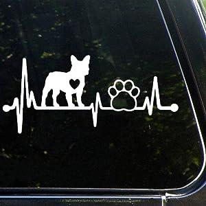 Frenchie French Bulldog Heartbeat Lifelineauto Sticker,Vinyl Car Decal,Decor for Window,Bumper,Laptop,Walls,Computer,Tumbler,Mug,Cup,Phone,Truck,Car Accessories luttezh56bsm