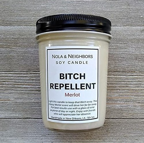 Bitch Repellent - Merlot Candle - Wine Candle - Funny Gift - Highly fragrant, long lasting Soy candle - 50 + hours of burn time Cabernet Pear