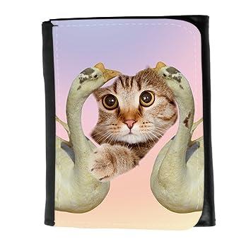 Cuero Original Sujetadora Tarjeta Crédito Identificación Dinero // Q05670691 Agujero papel gato Ganso blanco /