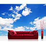 """Photo wallpaper - Sky Clouds Blue - 157.4""""W by 110.2""""H (400x280cm) - Non-woven PREMIUM PLUS - no. 154 - Wall Decor Photo Wall Mural Door Wall Paper Posters & Prints"""