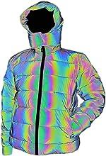 LZLRUN Rainbow Reflective Winter Jacket Coat Women Men Thick Warm Cotton