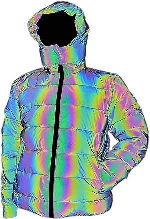 LZLRUN Rainbow Reflective Winter Jacket Coat Women Men Thick Warm Cotton Windbreaker Hooded