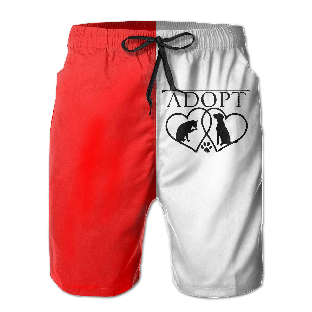 Mens Athletic Beach Shorts Polyester Dog Cat Adopt Love Board Shorts with Pockets